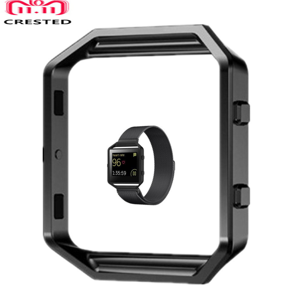 CRESTED Frame Case Cover Shell For Fitbit Blaze Stainless Steel Replacement case Activity Tracker Smart Watch Accessories crested stainless steel metal frame case cover shell for fitbit blaze replacement case activity tracker smart watch accessories