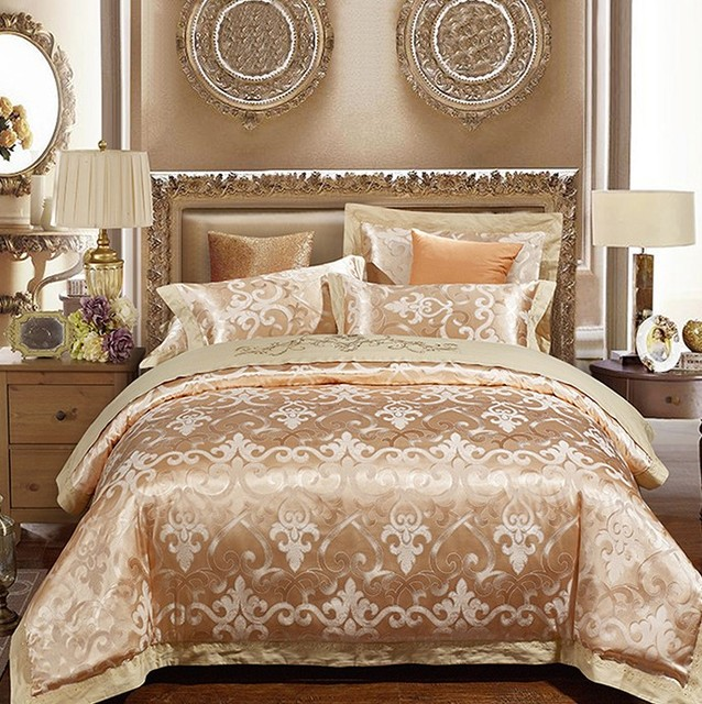 Merveilleux Luxury Gold Bedding Sets Duvet Cover Set Jacquard Bedspreads Satin Sheets  European Wedding Bed In A