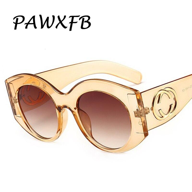 PAWXFB 2019 Classic Round Sunglasses Women Men Luxury Retro Sun Glasses Candy Color Eyewear Frame UV400 Shades