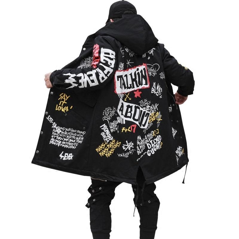 2019 Hip Hop Lange Padded Starke Oberbekleidung Winter Männer Neue Parkas Jacke Graffiti Drucken Mit Kapuze Baumwolle Wadded Mäntel Hohe Straße Kaufe Jetzt