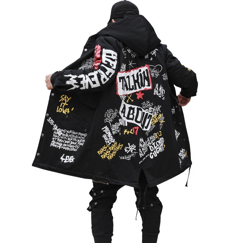 2019 Hip Hop Long Padded Thick Outerwear Winter Men's New   Parkas   Jacket Graffiti Print Hooded Cotton Wadded Coats High Street