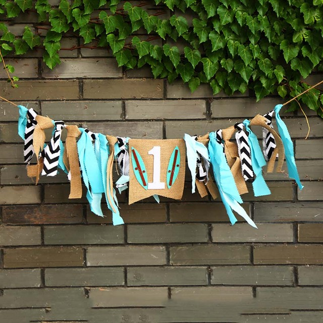 Boy Girl First Birthday Party Baby Highchair Flag Ribbon Banner One Years Old Hanging Bunting