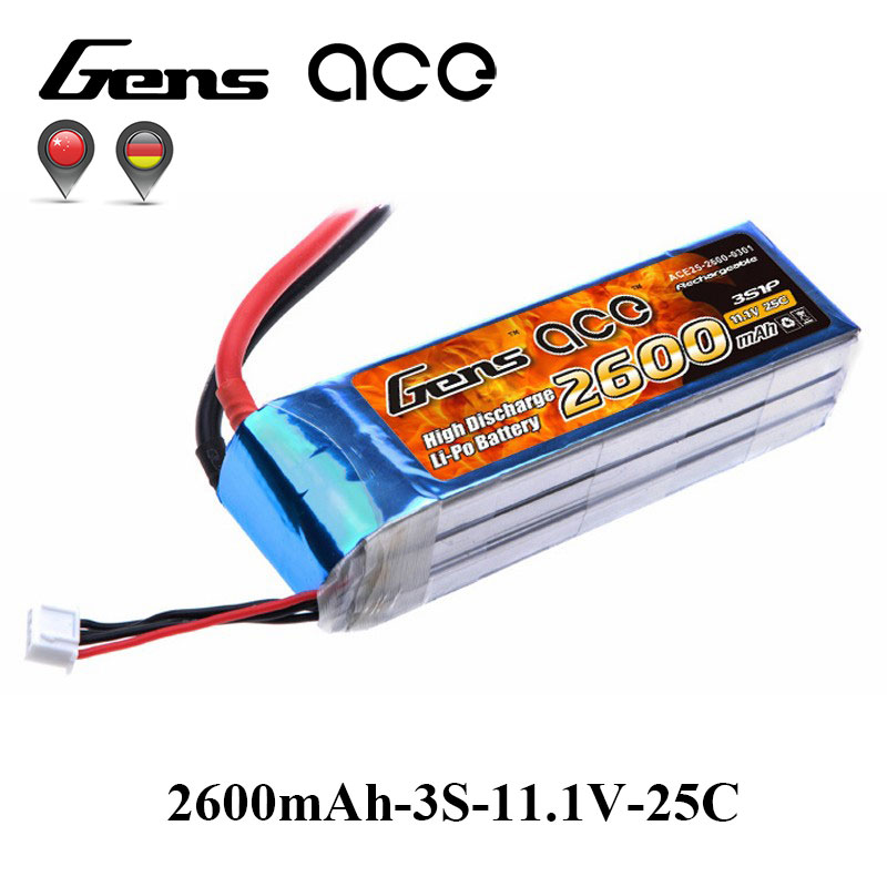 Gens ace Lipo Battery 11.1V 2600mAh Lipo 3S Battery Pack 25C T Plug Batteries for RC Helicopter Airplane Top Quality