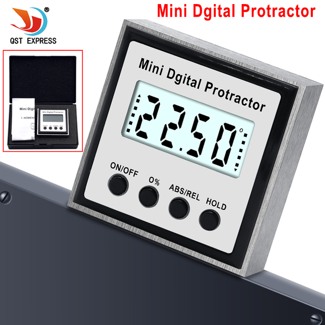 Electronic Protractor Digital Inclinometer 0 360 Stainless Steel Digital Bevel Box Angle Gauge Meter Magnets Base Measuring tool