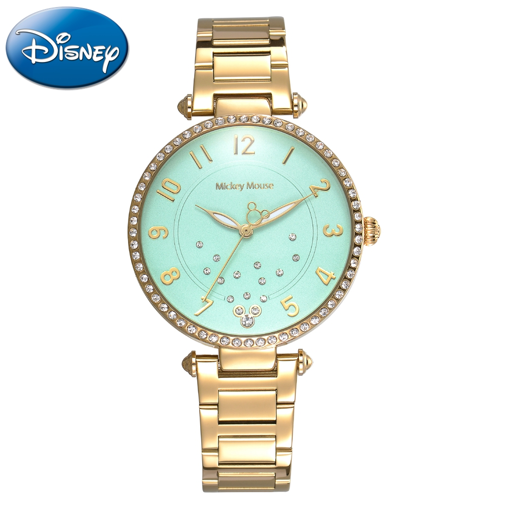 New Disney Women Quartz Steel Bracelet Round Simple Fashion Mickey Mouse Watches Elegant Ladies Dress Luxury Rhinestone Stone lacywear gk 15 snn