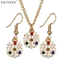 2018 New Fashion Christams Jewelry Sets For Women Gold Color Snow Flower Xmas Drop Earrings Chain Necklaces Set Bijoux Feminia