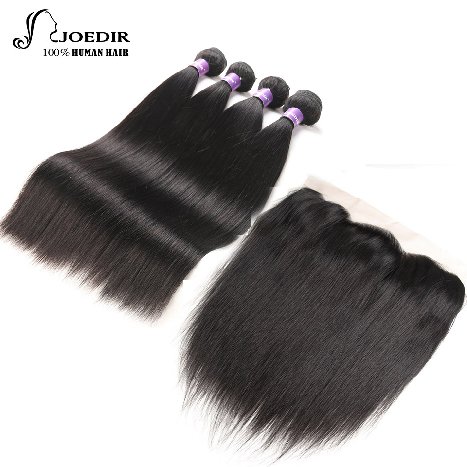 Joedir Malaysian Straight Hair Bundles With Lace Frontal Natural Color 4 pieces with Closure 13 x4 Non-Remy Human Hair Extention
