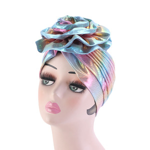 Image 1 - Laser Silky colorful flower turban for Women New Muslim Headscarf Hat Chemo Hat Headwrap Bonnet Salon Hat Accessories