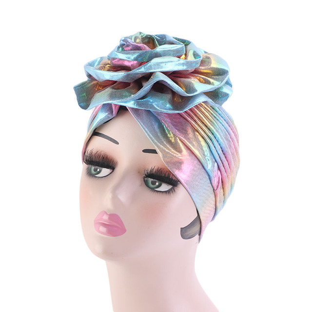 Laser Silky colorful flower turban for Women New Muslim Headscarf Hat Chemo Hat Headwrap Bonnet Salon Hat Accessories