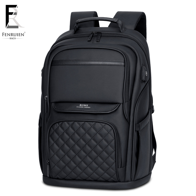 FRN Business Men's Backpack Black USB Charging Anti Theft Laptop Backpack 15.6 Inch Male Large Capacity Fashion Travel Backpacks