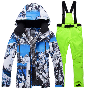 2018 New Winter Ski Suit Men Snow Skiing Male Clothes Set Outdoor Thermal Waterproof Windproof Snowboard Jackets and Pants 1