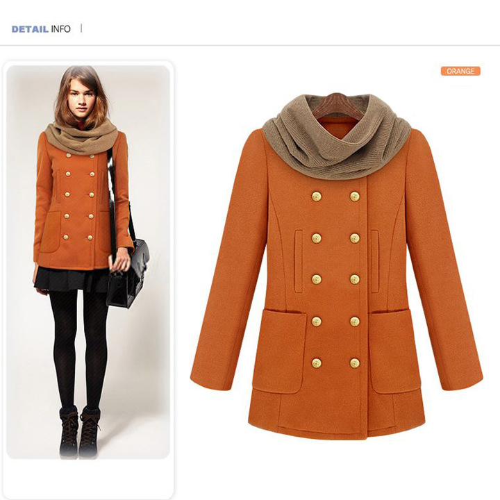 Womens Orange Pea Coat - Tradingbasis