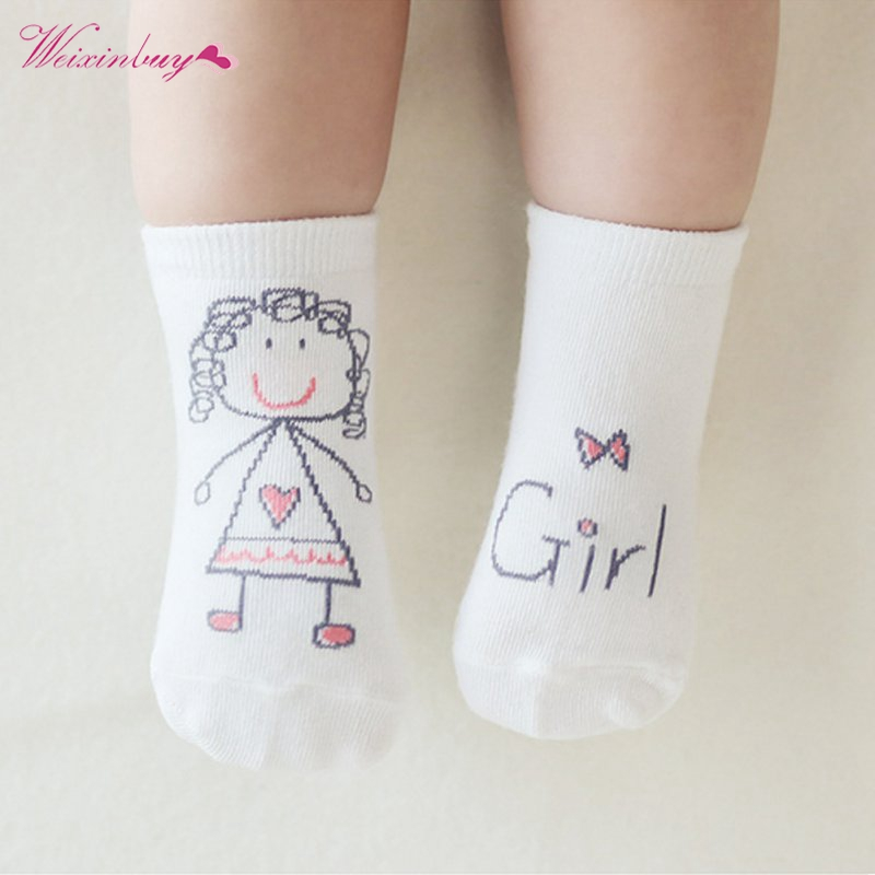 1 Pair Unisex Newborn Baby Girl Boy Cute Hand Printed Style Socks Kids Child Soft Stylish meias infantil