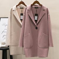 New Spring Autumn Fashion Cocoon Shape Wool Coat Women Loose Thin Single Button Coats Outerwear Windbreaker Woolen Tops Mw425