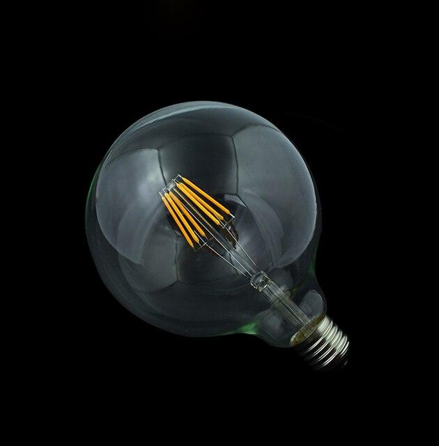Edison Led Filament Bulb G125 Big Global light bulb 4W/6W/8W filament led bulb E27 clear glass indoor lighting lamp AC220V
