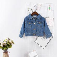 PUDCOCO/джинсовая осенняя куртка для маленьких девочек; пальто на пуговицах; верхняя одежда; От 1 до 6 лет;