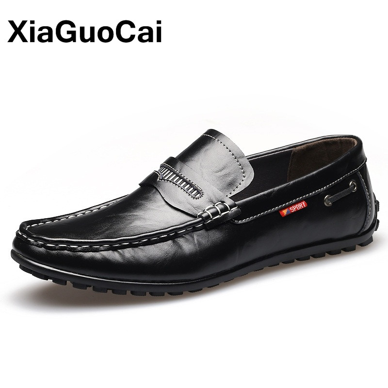 XiaGuoCai New Autumn Men Driving Doug Shoes Breathable Slip-On British Leather Casual Shoes For Man Comfortable Boat Shoes Flats 2017 new autumn winter british retro men shoes zipper leather breathable sneaker fashion boots men casual shoes handmade