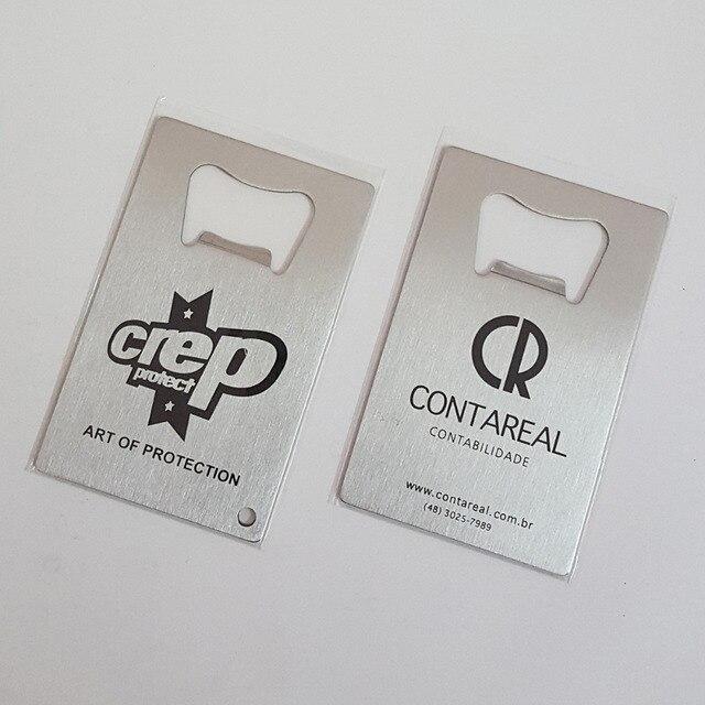 100x Personnalise Biere Decapsuleurs Promotionnel Produit En Metal Carte De Visite Acier Inoxydable Bouteille