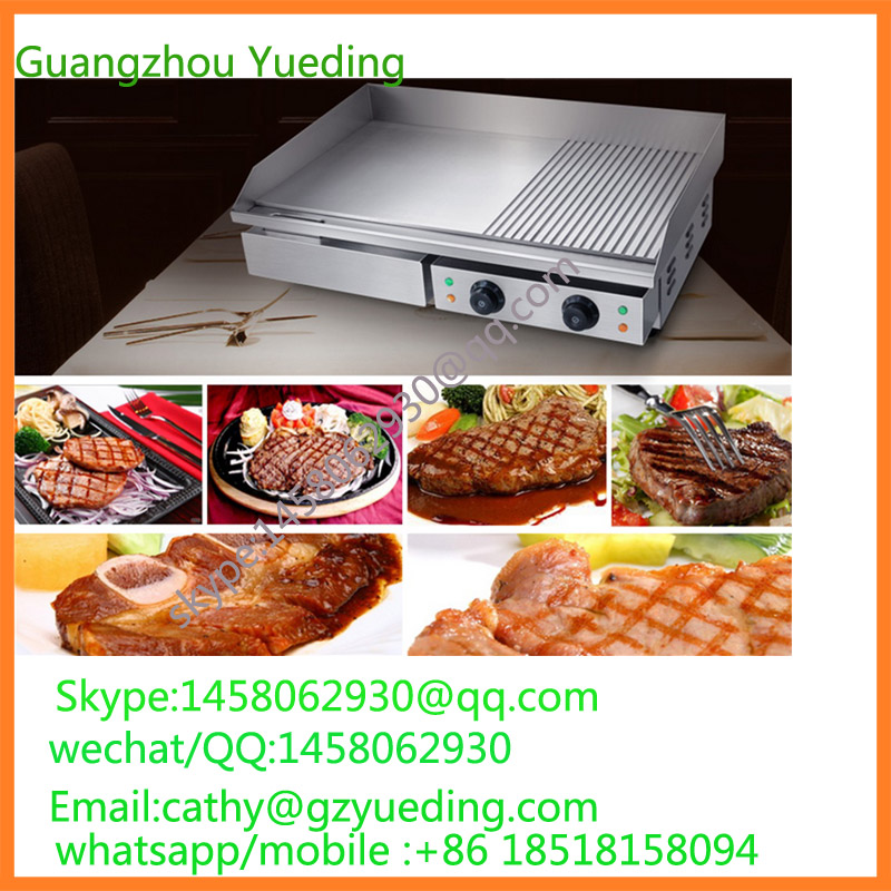 free shipping Countertop electric Griddle with Half Flat & Half Ribbed stainless steel electric griddle ru stock electric griddle barbecue griddle machine with half flat plate half groove plate double temperature controllers