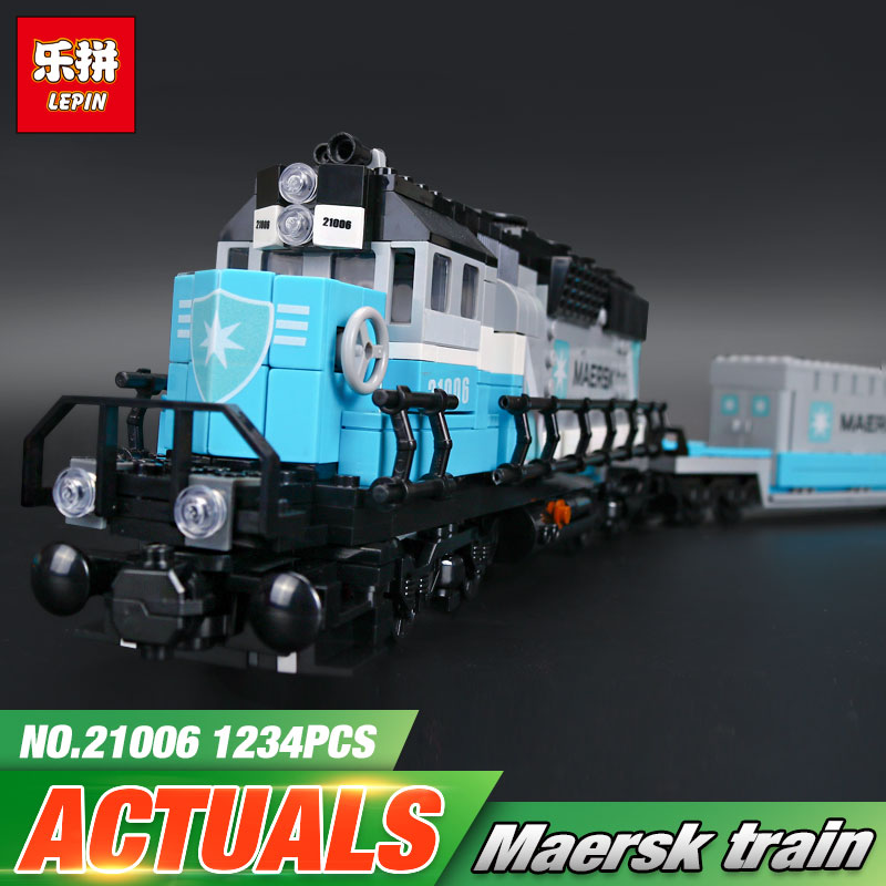 Lepin 21006 New 1234Pcs Genuine Technic Ultimate Series The Maersk Train Set Building Blocks Bricks Educational Toys 10219 lepin 21006 compatible builder the maersk train 10219 building blocks policeman toys for children