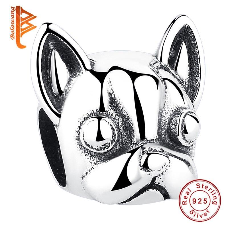 2019 Neuestes Design Belawang 925 Sterling Silber Loyal Partner Französisch Bulldog Doggy Tier Perlen Fit Charme Armbänder Diy Schmuck Machen