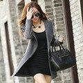 2015 Nova Moda Das Mulheres Jaquetas E Casacos de Inverno da Caxemira das Mulheres Roupas Com Zíper Jaqueta Casaco de lã Magro Ocasional Longa Tops 85E 20