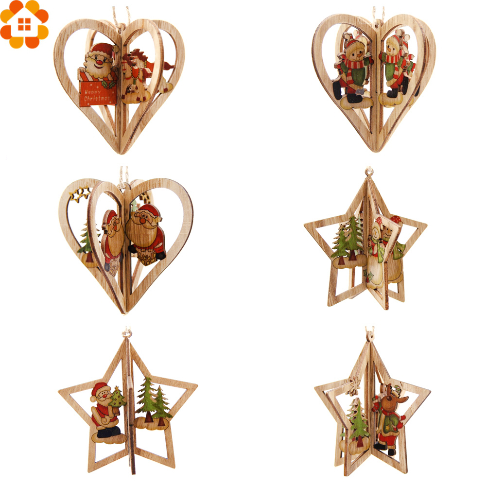 3Sets 3D Creative Christmas Wooden Pendants Ornaments DIY Star&Heart Wood Craft Decorations Tree Kids Gifts