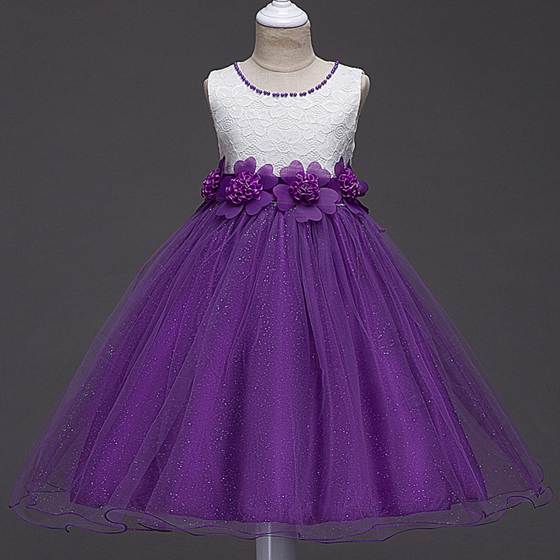 Girls Dress 2017 New Summer Flower Kids Party Dresses For Wedding Children's Princess Girl Evening Prom Toddler Beading Clothes girl white dress rose lace costume wedding dresses princess toddler girls tutu summer party prom for girl kids evening clothing