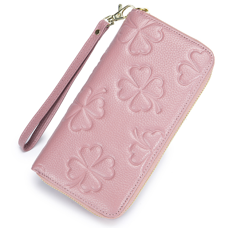Fashion Four-leaf Clover Printing Women RFID Wallets Long Zipper Purse Genuine Leather Wallet for Lady Female Mobile Phone Pouch