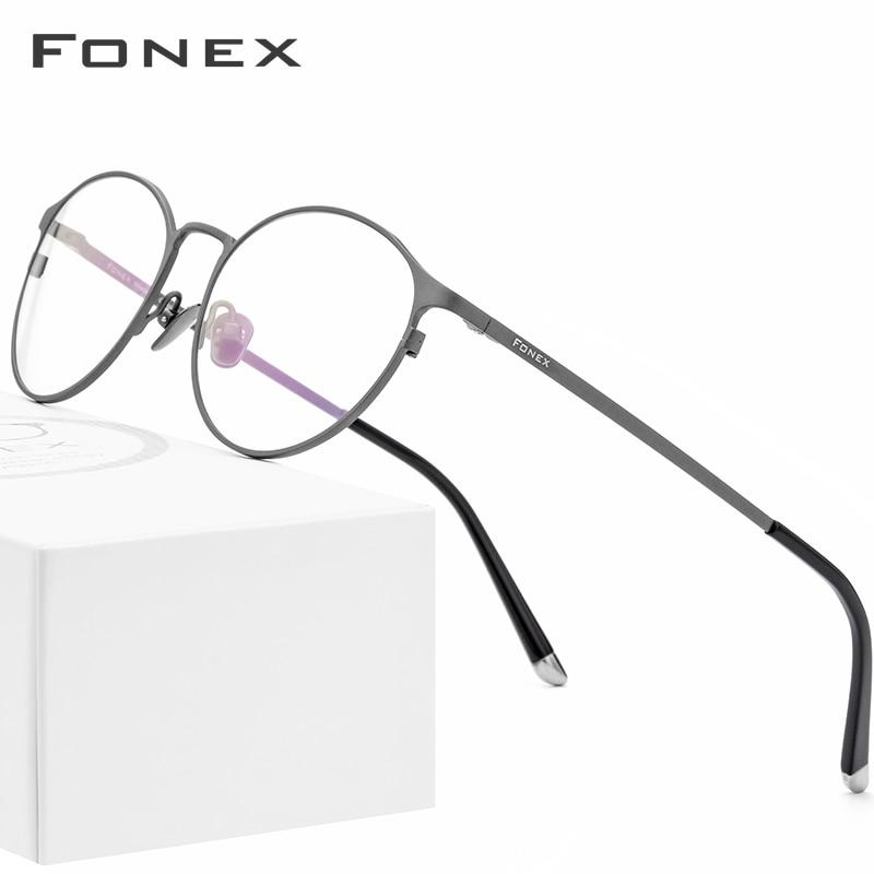 Pure Titanium Glasses Frame Men Vintage Round Eyewear Classic Optical Prescription Brand Designer Eyeglasses Frame Women 8501