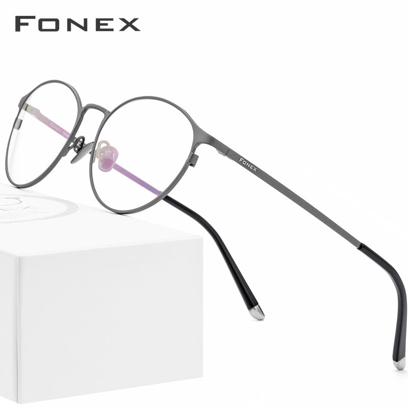 Pure Titanium Glasses Frame Men Vintage Round Eyewear Classic Optical Prescription Brand Designer Eyeglasses Frame Women 8501 image