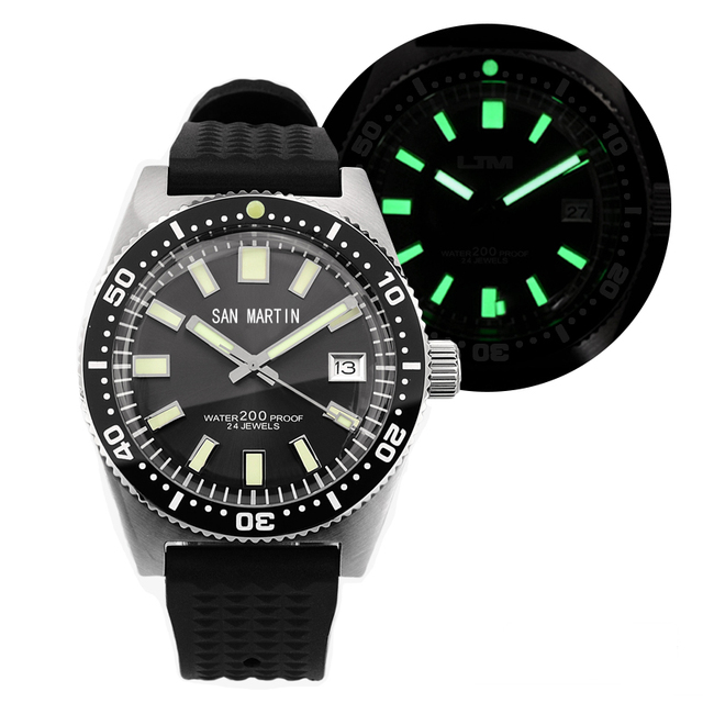 62MAS גברים אוטומטי שעון נירוסטה שעון צלילה 200m מים עמיד קרמיקה לוח סן מרטין אופנה שעוני יד NH35