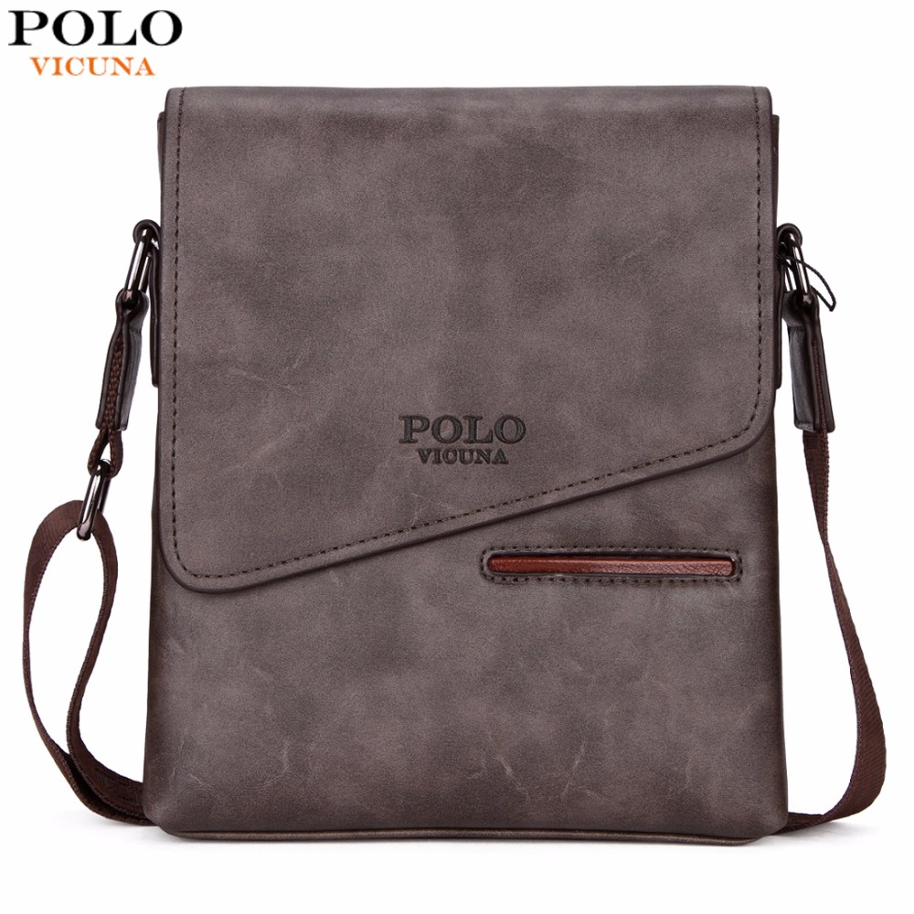 VICUNA POLO Vintage Frosted Leather Messenger Bag