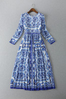 High Quality New Fashion Summer Long Dress 2015 Women Vintage Porcelain Print Blue And White Long