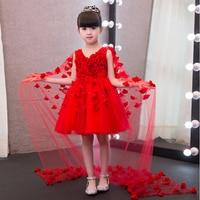 2020 New European Luxury Children Girls White Pink Red Princess Dress With Long Mesh Tail Korean Sweet Wedding Birthday Dress