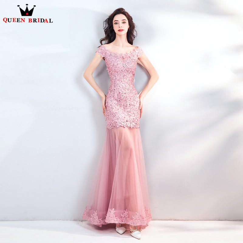 Pink Mermaid Tulle Lace Beading Appliques Sexy Evening Dress Party Gowns Dress Evening Gown JE04