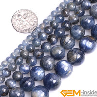 Круглый Синий Кианит бусины, размер по выбору 4 мм до 12 мм, модные украшения бусины для женщин браслет, нить 15