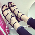 US5-9 New Summer Woman Leather Ankle Strap Gladiator Sandals Girls Rhinestone T-Strap Thongs Flat Shoes
