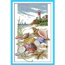 Joy Sunday,lighthouse,cross stitch embroidery set,printing cloth kit,needlework, embroidery,Chinese cross kit