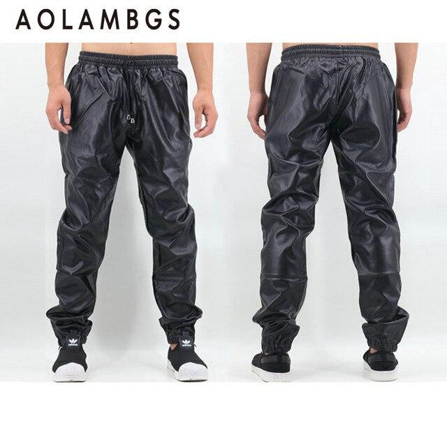 PU Leather Pants Men Elastic Waist Plus Size Side Zipper Hip Hop Leather Trousers Fashion Kanye West Justin Bieber Style Pants