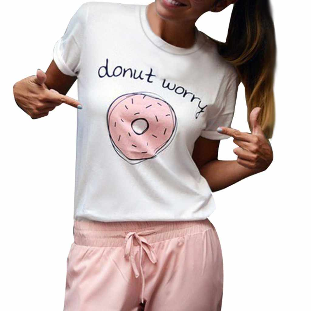 Polo Shirt Women's Plus Size  Donut Cartoon Print Top  Casual  Round Neck Top Shirt Women's Shirt
