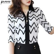 2019 Fashion Chiffon shirt female high quality summer slim half sleeve women blouses office lady plus size professional tops