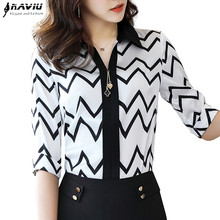 2019 mode Chiffon hemd weibliche hohe qualität sommer dünne halbe hülse frauen blusen büro dame plus größe professionelle tops
