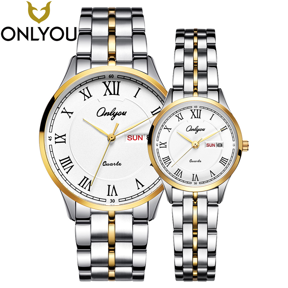 ONLYOU Lover Watches Men Business Gold Watch For Women Fashion Dress Quartz Clock Ladies Luxury Wristwatches Wholesale Gift onlyou women top brand luxury crystal diamond watches ladies fashion casual clock woman rose gold quartz gift watch wholesale