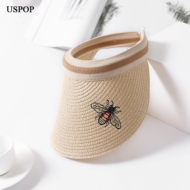 Conscientious Uspop 2018 New Women Visor Sun Hats Female Wide Brim Empty Top Straw Hat Cute Bee Embroidery Summer Casual Shade Beach Cap Warm And Windproof Apparel Accessories