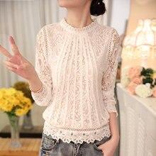 Women Long Sleeve Chiffon Lace Crochet Blouses (size S-XXXL)(2 colors)