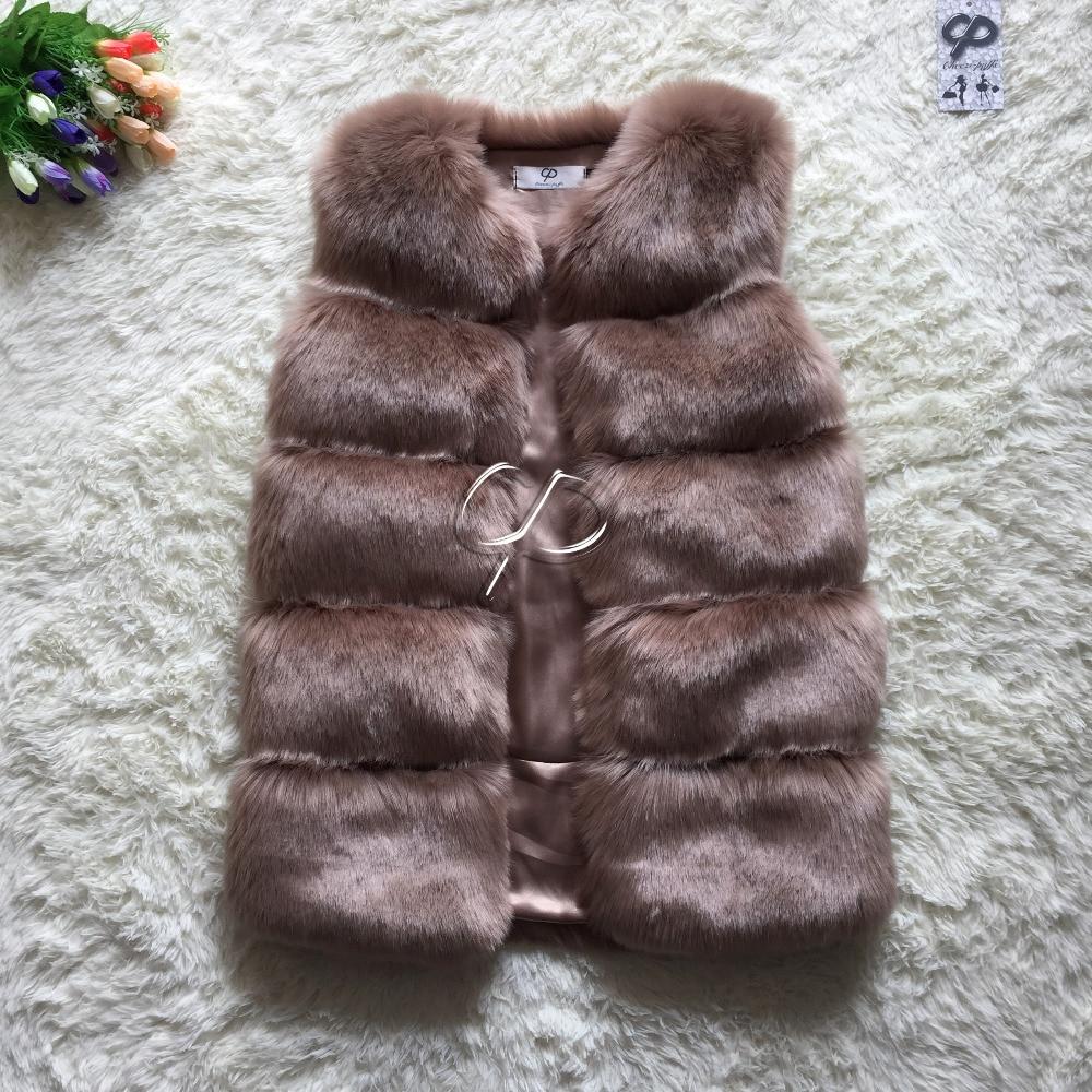 New Design 2015 Fashion Winter Women Fur Vest Faux Fox Fur Vests Woman Fake Fur Coat Jacket Female Ladies Fur Coats Size S-XXXL