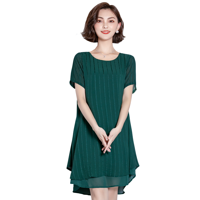 EAD Women Fashion Striped Summer Dress Chiffon Elegant Dresses Casual Plus Size 5XL O Neck Ladies Short Sleeve Dress Vestido in Dresses from Women 39 s Clothing