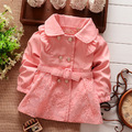 2016 new spring kids jacket turn down collar baby girls lace coat 3 color suit 2-7T children kinderkleding meisjes