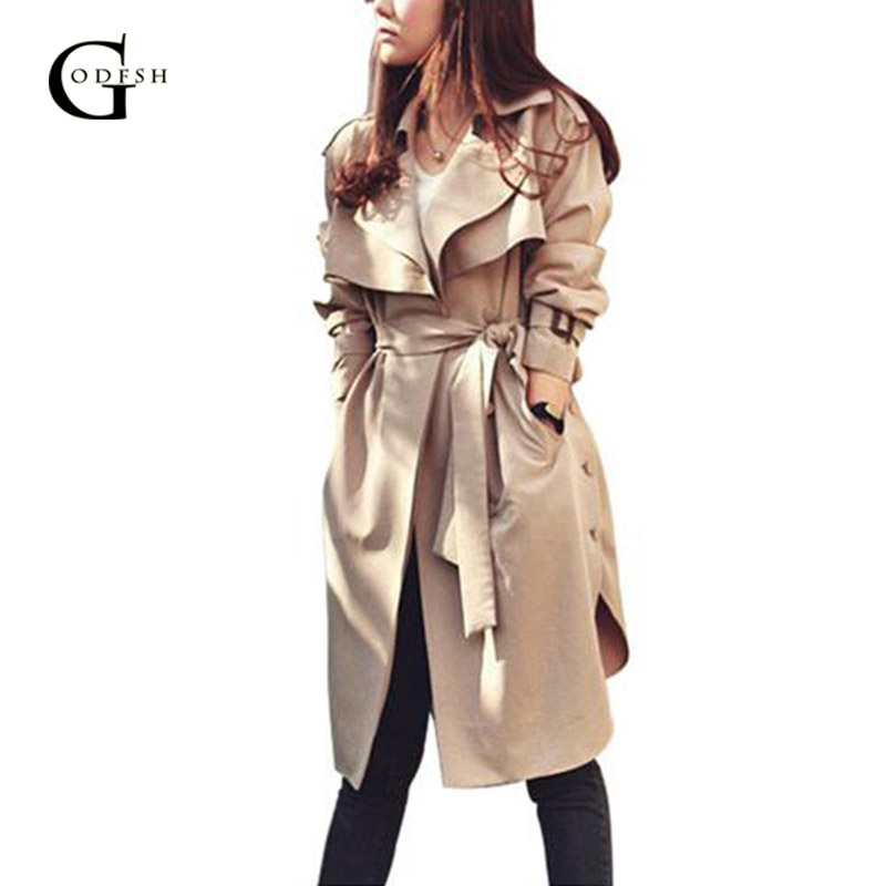 Fashion Women's Khaki   Trench   Spring Autumn Outerwear Casual Loose Coat Long   Trench   With Belt Elegant Lady Windbreak RH197